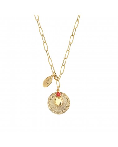 Scarlett long necklace 2 in 1 Drop medal